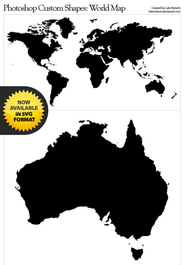 Photoshop Shapes -  World Map