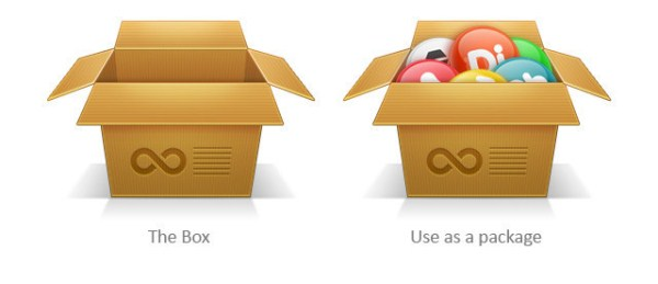 Cardboard Box Icon in Photoshop