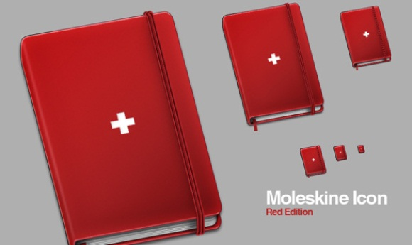 Moleskine Helvetica Red Icons Set