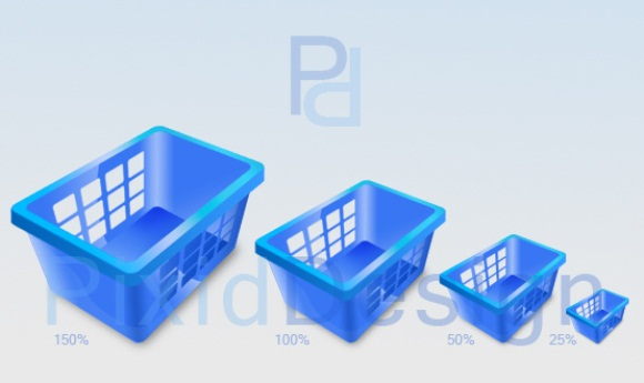 Shopping Basket Icons 3D