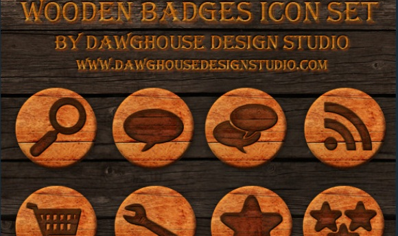 Wooden Badges Social Icons Pack