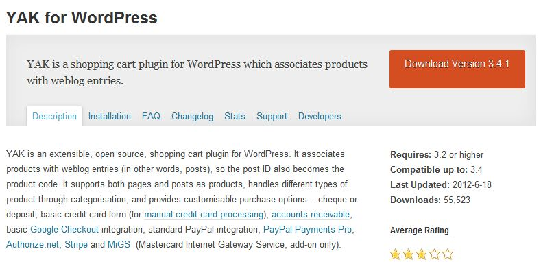 YAK shopping cart Plugin for WordPress