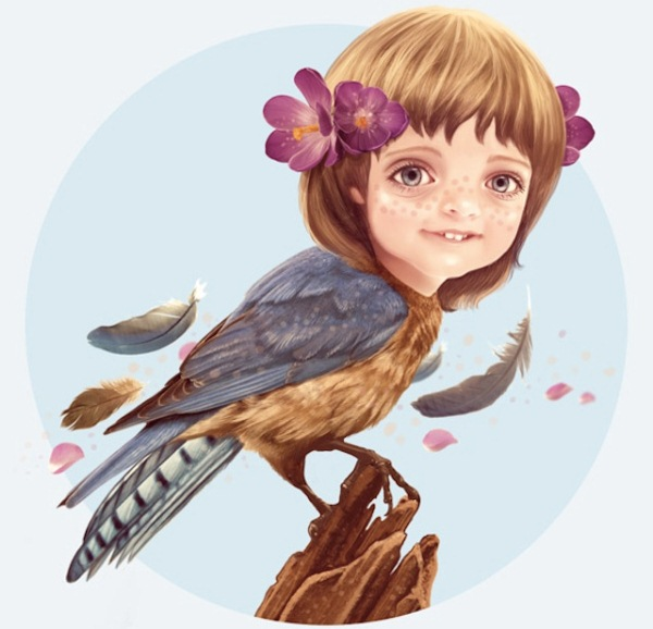 Girlbird Illustration in Photoshop