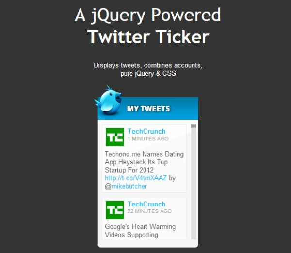 Add a News-Style Ticker of Tweets to the Site