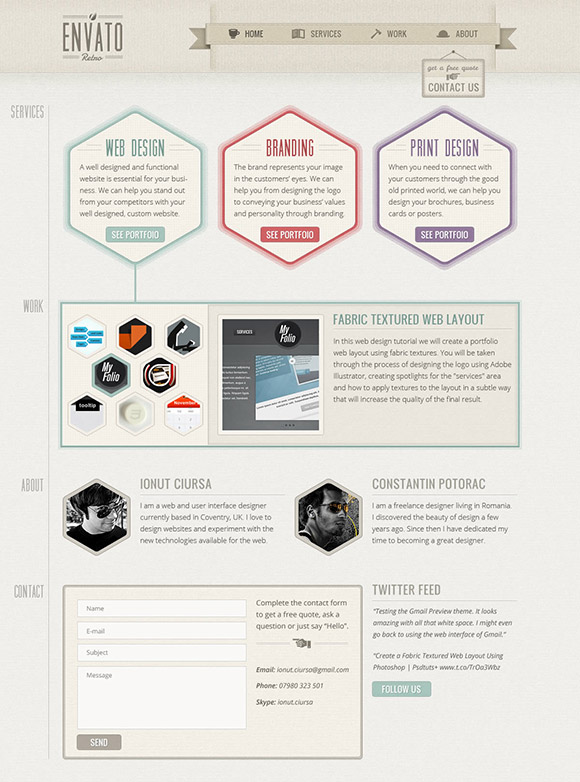One-Page Retro Web Design Layout in Photoshop