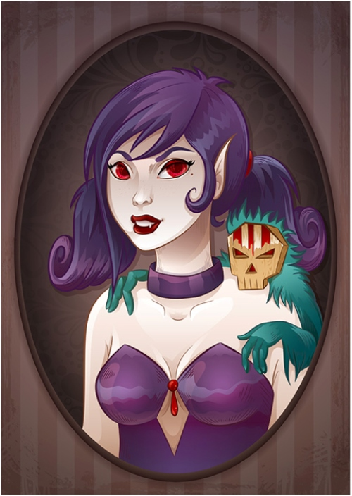Feisty Female Vampire and Her Pet in Adobe Illustrator