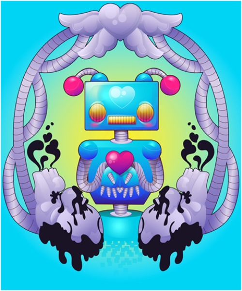 Funky Robot With Gradients in Adobe Illustrator