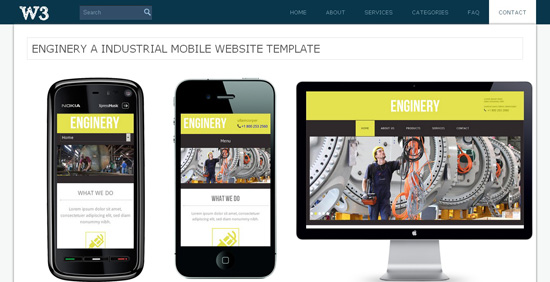 10 Free Mobile Templates by  W3LAYOUTS.COM